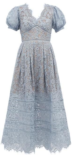 Self-Portrait Puffed-sleeve Guipure-lace Dress - Light Blue