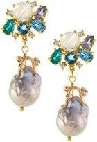 Indulgems Cluster Gemstone & Baroque Pearl Earrings