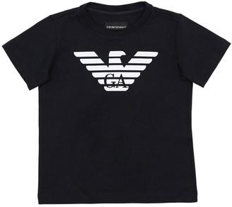 Emporio Armani Logo Print Cotton Jersey T-shirt