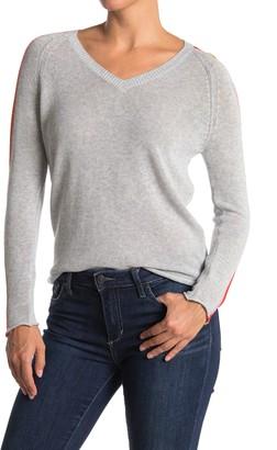 Kier & J Rainbow Stripe Sleeve V-Neck Pullover