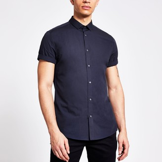 River Island Mens Navy short sleeve slim fit shirt