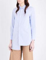Mo&Co. Striped asymmetric cotton-poplin shirt