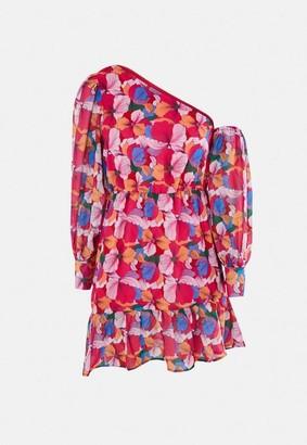 Missguided Pink Floral Print One Shoulder Mini Dress