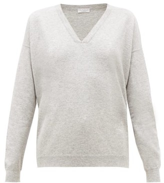 Brunello Cucinelli Bead-trimmed Cashmere Sweater - Womens - Light Grey