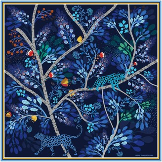 Jessie Zhao New York Silk Scarf In Blue With Animals At Night