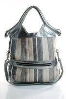 Foley + Corinna Silver Brown Tan Beige Woven Stripe Shoulder Handbag