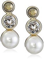 """Judith Jack Timeless Touches"""" Sterling Silver/Gold Tone/Marcasite Glass Pearl Linear Drop Earrings"""