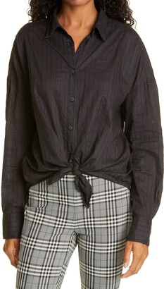 Rag & Bone Striped Button Front Tie Shirt