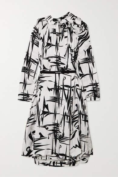Balenciaga Gathered Printed Silk-jacquard Midi Dress - White