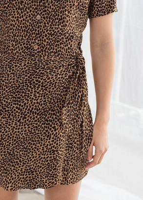 And other stories Side Tie Leopard Mini Dress