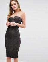 AX Paris Bandeau Dress In Glitter Fabric