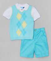 Good Lad Turquoise Argyle Sweater Vest Set - Infant Toddler & Boys