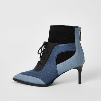River Island Womens Blue blocked lace-up denim heeled boots