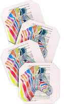 Deny Designs Coco De Paris Rainbow Zebra Head Coaster, Set of 4