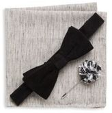 Original Penguin Three-Piece Solid Bow-Tie, Lapel Pin & Textured Pocket Square Set