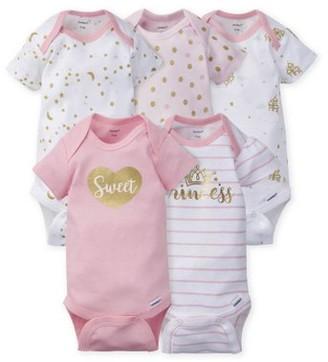 Gerber Baby Girl Assorted Short Sleeve Onesies Bodysuits, 5-Pack