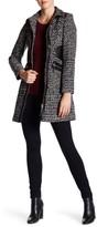 Via Spiga Faux Leather Trim Coat