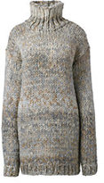 Classic Women's Hand Knit Wool Blend Turtleneck Tunic Sweater-Burgundy