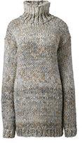 Classic Women's Plus Size Hand Knit Wool Blend Turtleneck Tunic Sweater-Vicuna Heather