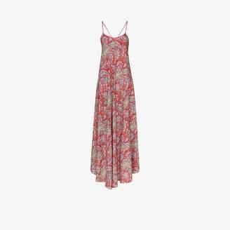 Etro Womens Red Paisley Print Maxi Dress