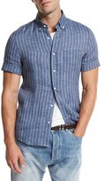 Brunello Cucinelli Striped Short-Sleeve Leisure Sport Shirt, Indigo