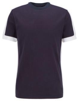 HUGO BOSS Regular Fit T Shirt With Color Block Stripes - Dark Blue