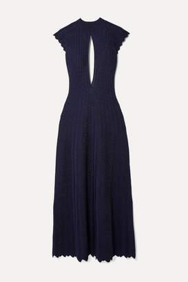 Sonia Rykiel Cutout Pleated Metallic Wool-blend Maxi Dress - Midnight blue