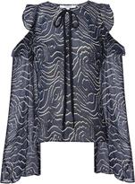 Derek Lam 10 Crosby Printed Cold Shoulder Ruffle Blouse