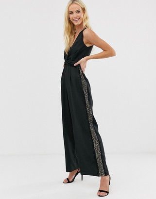 Little Mistress tailored cross over jumpsuit