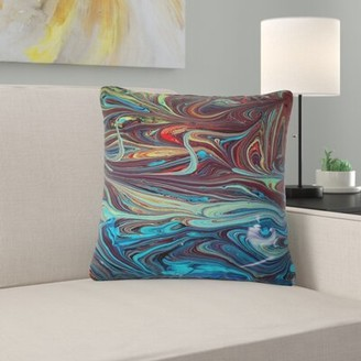 """East Urban Home Abstract Acrylic Paint Mix Pillow Size: 18"""" x 18"""", Product Type: Throw Pillow"""