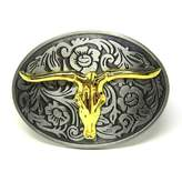 Fancy Apparel Rodeo Two-Tones Longhorn Bull Steer Belt Buckle Floral Etched Western Cowboy New