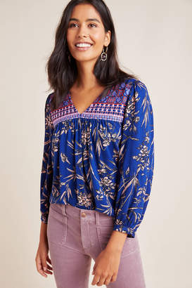 Anthropologie Indigo Floral Peasant Top