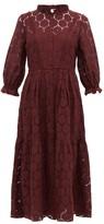 Apiece Apart Suenos Broderie-anglaise Cotton-blend Midi Dress - Womens - Burgundy