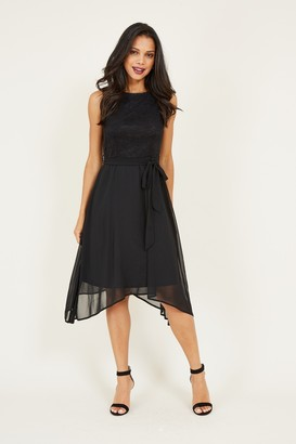 Yumi Black Lace Asymmetric Dress
