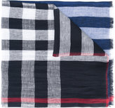 Burberry check panel scarf - men - Cotton/Linen/Flax - One Size