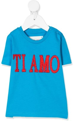 Alberta Ferretti Kids embroidered slogan T-shirt
