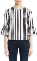 Alice + Olivia Women's Bernice Stripe Cotton Ruffle Sleeve Top