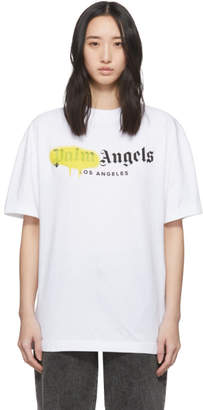 Palm Angels White and Yellow Los Angeles Sprayed T-Shirt