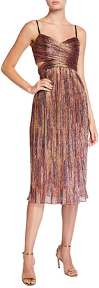 Aidan Mattox Pleated Metallic Spaghetti-Strap Midi Dress