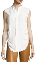 Helmut Lang Sleeveless Crepe Drawstring Blouse, White