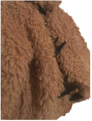 Liviana Conti Camel Faux fur Leather Jacket for Women