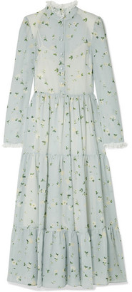 Philosophy di Lorenzo Serafini Lace-trimmed Floral-print Chiffon Midi Dress - Sky blue