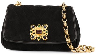 Chanel Pre Owned V Stitch stone chain shoulder bag