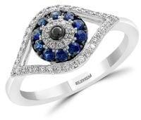 Effy Royale Bleu Sapphire, Diamond and 14K White Gold Evil Eye Ring