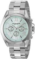 Akribos XXIV Women's Multi-Function Stainless Steel Case on Stainless Steel Bracelet and Light Blue Dial with Silver Tone Hands Watch AK951SSBU