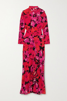 Rixo Dani Open-back Ruffled Floral-print Silk Midi Dress