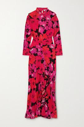 Rixo Dani Open-back Ruffled Floral-print Silk Midi Dress - Pink