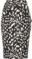Max Mara Leopard-print Cotton-poplin Skirt - Charcoal