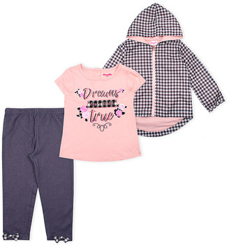 Nannette Kids Girls' Rain Coats PINK - Pink & Black Gingham Rain Coat Set - Toddler & Girls