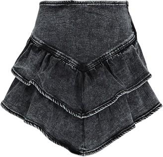 Mother Ruffled Denim Mini Skirt